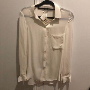 Haute Hippie NWT cream silk blouse s